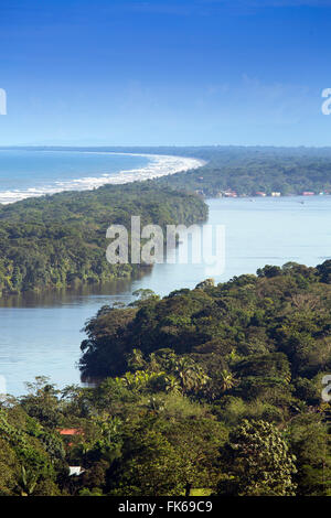 View of rainforest, beach and rivers in Tortuguero National Park, Limon, Costa Rica, Central America - Stock Photo