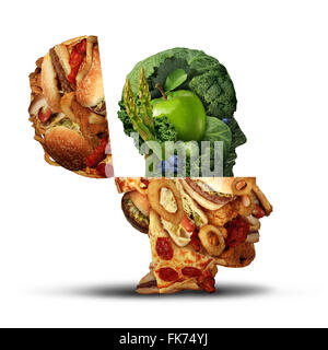 Nutrition change healthy lifestyle concept changing bad eating habits and from unhealthy junk food to fresh fruits - Stock Photo