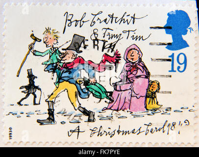 UNITED KINGDOM - CIRCA 1993: A stamp printed in United Kingdom from the 'Christmas 150th anniversary of A Christmas - Stock Photo