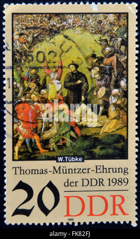 GERMANY - CIRCA 1989: a stamp printed in GDR shows Battle Scene, Detail of the Painting Early Bourgeois Revolution - Stock Photo