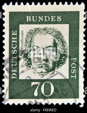 GERMANY - CIRCA 1961: A stamp printed in Germany showing German composer and pianist Ludwig van Beethoven, circa - Stock Photo