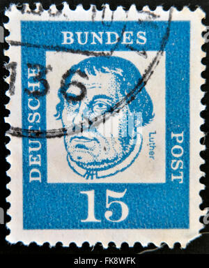 GERMANY - CIRCA 1961: A stamp printed in Germany shows portrait of Martin Luther, circa 1961 - Stock Photo