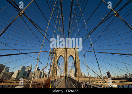 Brooklyn Bridge over the East River - Brooklyn Bridge - Stock Photo