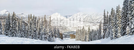 A panoramic view of the Hades run at Purgatory Ski Resort after a blizzard, in the San Juan National Forest in Colorado. - Stock Photo
