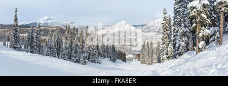 A panoramic view of the Hades run at Purgatory Ski Resort in the San Juan National Forest in Colorado. - Stock Photo