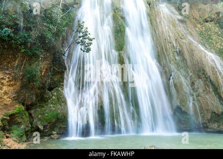waterfall  Salto El Limon in Limon near Las Terrenas, Samana,  Dominican Republic, Carribean, America, - Stock Photo