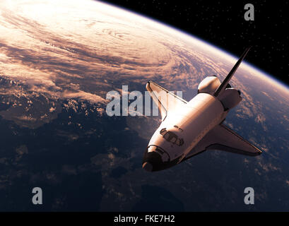 Space Shuttle In Space. Realistic 3D Scene. - Stock Photo