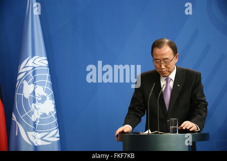Berlin, Germany, 8th March, 2016: UN General Secretary Ban Ki-moon for official visit in German Chancellery to discuss - Stock Photo