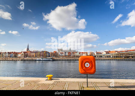 View of Szczecin, city by the Odra River, Poland. - Stock Photo