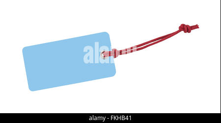 Blue Etiquette with red ribbon isolated on white - Stock Photo