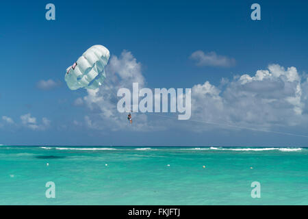 Parasailing  at  Playa Bavaro, Punta Cana,  Dominican Republic, Carribean, America, - Stock Photo