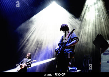 BILBAO, SPAIN - OCT 31: Thurston Moore (band) live performance at Bime Festival on October 31, 2014 in Bilbao, Spain. - Stock Photo