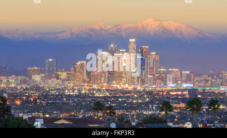 Special day to night view of Los Angeles Downtown at Kenneth State Park - Stock Photo