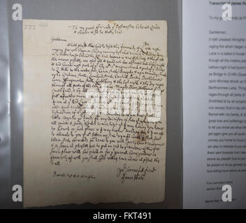 Museum of London, UK. 10th March, 2016. James Hicks letter informing postmasters of the Great Fire of London on - Stock Photo