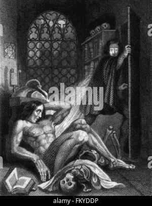 Frankenstein by Mary Shelley. Theodore von Holst's illustration on the inside cover of the 3rd edition of Mary Shelley's - Stock Photo