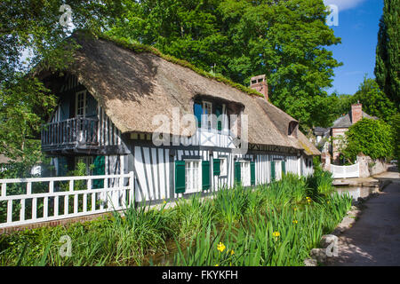 Tudor style house along the river Veules, Veules-les-Roses, Seine-Maritime, Upper Normandy, France - Stock Photo