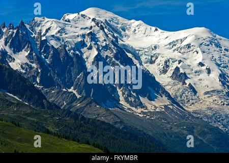 Mont Blanc massif, Chamonix, Savoy, France - Stock Photo