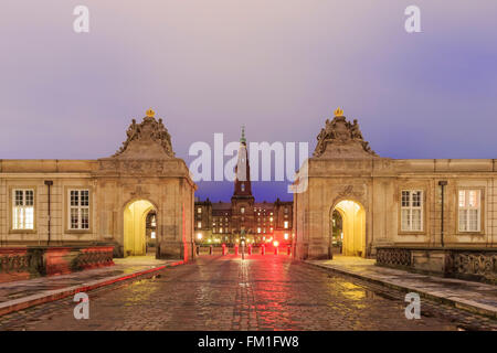 The famous Christiansborg Slot in Copenhagen, Denmark at night - Stock Photo