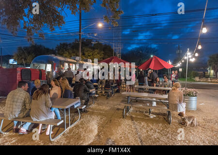 Gourdough's Big Fat Doughnuts being sold in a food trailer park in South Austin, Texas, USA. - Stock Photo