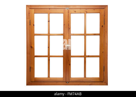 Wooden window isolated on white background interior side - Stock Photo