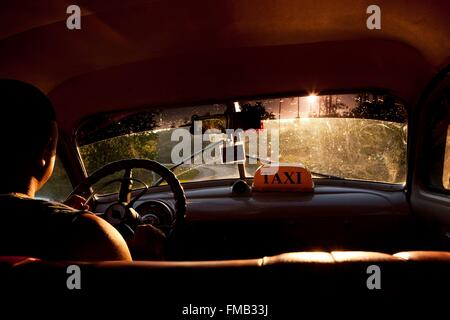 Cuba, Pinar del Rio, Vinales, Interior of a taxi - Stock Photo