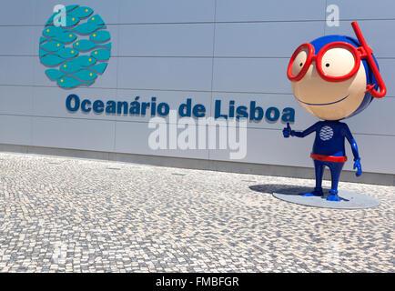 LISBON, PORTUGAL - July 27: Vasco mascot at the Lisbon Oceanarium (Oceanario de Lisboa) on July 27, 2015 in Lisbon, - Stock Photo