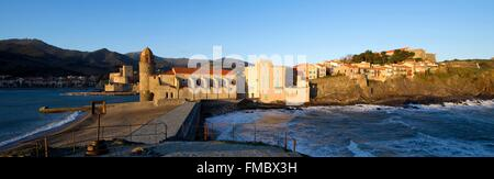 France, Pyrenees Orientales, Collioure, church of Notre Dame des Anges, the Royal castle dated XIIIth century - Stock Photo