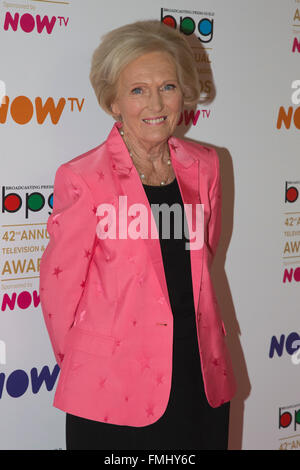 London, UK. 11 March 2016. Mary Berry. Celebrities red carpet arrival for the 42nd Television and Radio Awards Lunch - Stock Photo