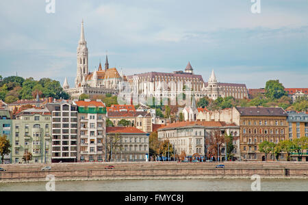 Budapest - St. Matthew's Cathedral over Danube - Stock Photo