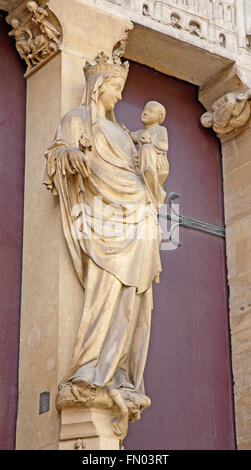 PARIS, FRANCE - JUNE 16, 2011: Virgin Mary from east portal of Saint Denis - first gothic cathedral - Stock Photo