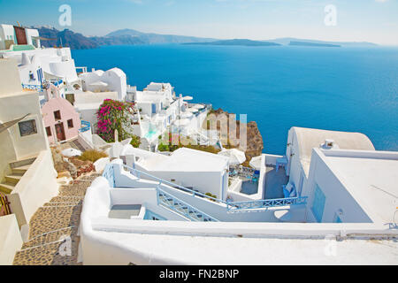 SANTORINI, GREECE - OCTOBER 5, 2015: The look from Oia to east with the Imerovigli and Scaros in the background. - Stock Photo