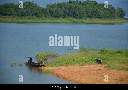 View of kaeng krachan dam in Kaeng Krachan largest national park in Phetchaburi, Thailand. - Stock Photo