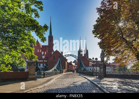 The Cathedral Bridge connects the Sand Island with the Cathedral Island, Wroclaw, Lower Silesia Voivodeship, Poland, - Stock Photo