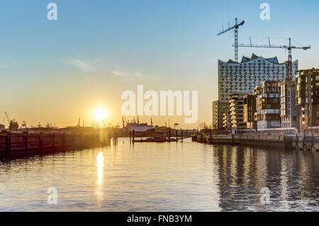 Sunset at Hafencity in Hamburg HDR - Stock Photo