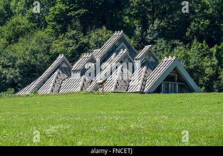 Memorial house next to Tjentiste War Memorial in Sutjeska National Park in Republika Srpska entity, Bosnia and Herzegovina - Stock Photo
