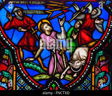 Conversion of Paul the Apostle on a Stained Glass in the Saint Gudula Cathedral in Brussels. - Stock Photo