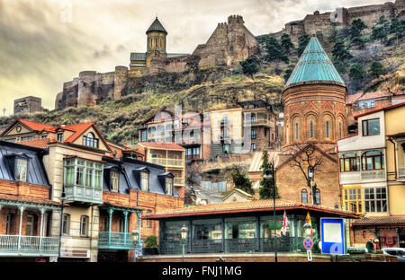 Narikala fortress above the old town of Tbilisi - Stock Photo