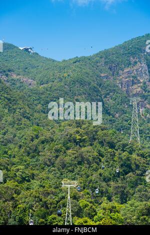 Cable car station, cabs and rope on Langkawi mount Gunung Machinchang, Langkawi, Malaysia - Stock Photo