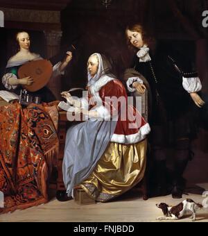 A Young Woman Composing a Piece of Music 1662 Gabriel METSU 1629 - 1667 Dutch Netherlands - Stock Photo