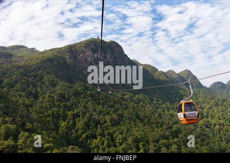 Cable car station and rope on Langkawi mount Gunung Machinchang, Langkawi, Malaysia - Stock Photo