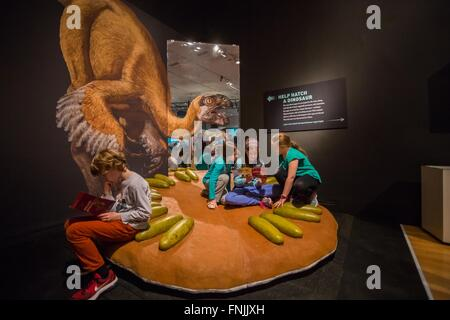 (160315) -- NEW YORK, March 15, 2016 (Xinhua) -- Children read brochures during the 'Dinosaurs Among Us' exhibition - Stock Photo