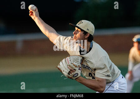 Winston-Salem, NC, USA. 15th Mar, 2016. John McCarren (45) of the Wake Forest Demon Deacons releases NCAA Baseball - Stock Photo