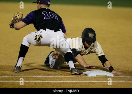 Winston-Salem, NC, USA. 15th Mar, 2016. NCAA Baseball match-up between the High Point Panthers and the Wake Forest - Stock Photo