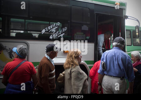 Mexico City. 16th Mar, 2016. Residents take a bus of the public transport system in Mexico City, capital of Mexico - Stock Photo