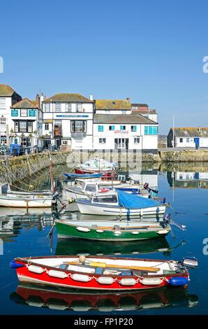 Small fishing boats at Custom House quay in Falmouth, Cornwall, England, UK - Stock Photo