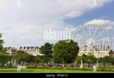 Tuileries Garden with Ferris wheel, Paris, Ile De France, France - Stock Photo