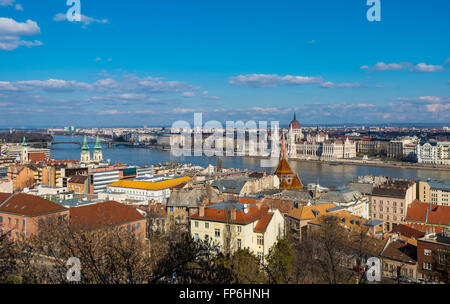 Budapest view from Fisherman's Bastion - Stock Photo