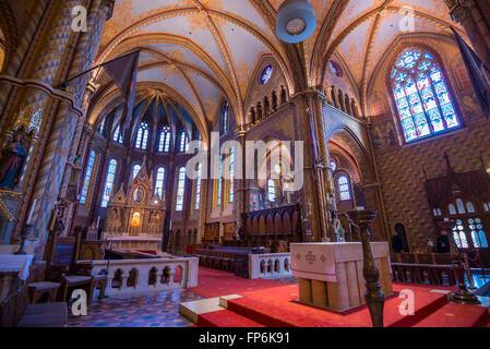 Matthias Church interior view in Budapest - Stock Photo