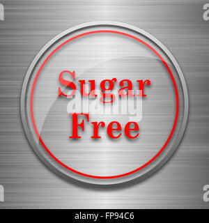 Sugar free icon. Internet button on metallic background. - Stock Photo