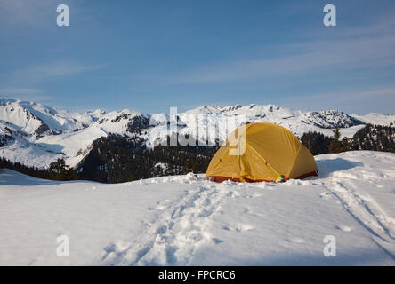 Winter Camping at Elfin Lakes, Garibaldi Provincial Park, British Columbia - Stock Photo